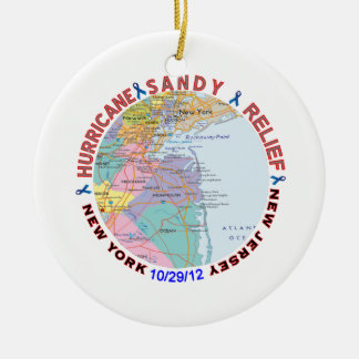 Hurricane Sandy Relief Awareness Double-Sided Ceramic Round Christmas Ornament