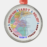 Hurricane Sandy Relief Awareness Round Metal Christmas Ornament