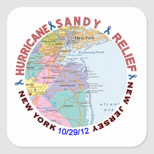 Hurricane Sandy Relief Awareness Square Stickers