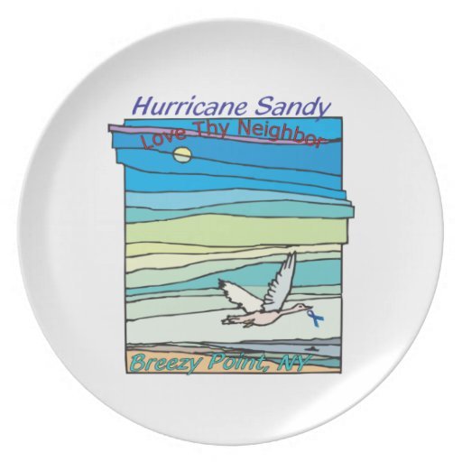 Hurricane Sandy Relief Breezy Point NY Party Plates