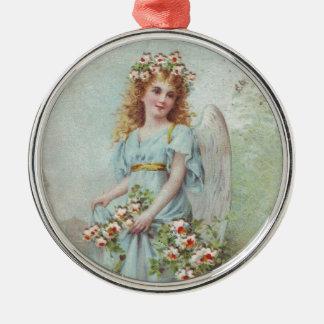 Hurricane Sandy -Victorian Christmas Blue Angel Metal Ornament