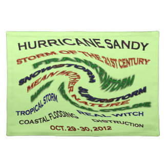 Hurricane Sandy Words Cloth Placemat