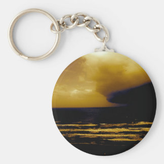 Hurricane Storm Approaching Dark Clouds Beach Wave Key Chains