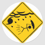 Hurricane Weather Warning Merchandise and Clothing Round Stickers