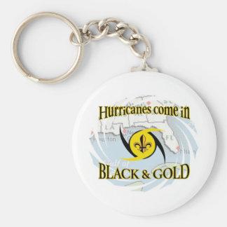 Hurricanes in Black & Gold Basic Round Button Keychain