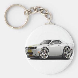 Hurst Challenger White-Gold Car Basic Round Button Keychain