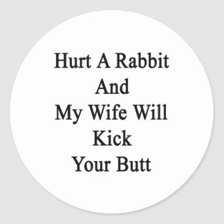 Hurt A Rabbit And My Wife Will Kick Your Butt. Classic Round Sticker