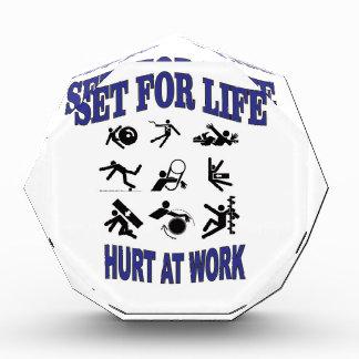 hurt at work set for life acrylic award