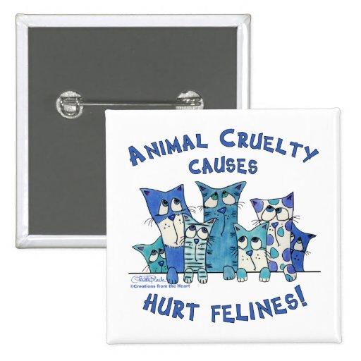 Hurt Felines Animal Cruelty 2 Inch Square Button
