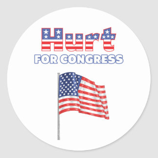 Hurt for Congress Patriotic American Flag Round Stickers