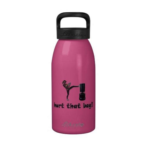 Hurt that bag! Lady kickboxer / front kick! Reusable Water Bottle