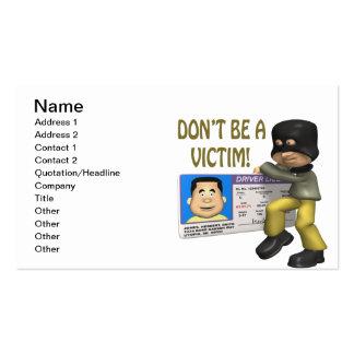 Hurto de identidad tarjetas de visita