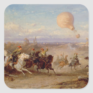 Húsares prusianos que encienden en los vagos de pegatina cuadrada