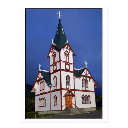 Husavik Lutheran Church, Iceland. Postcard