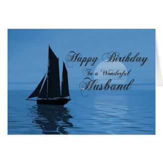 Husband, a moonlight yacht birthday card