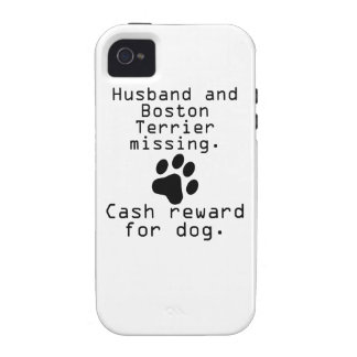 Husband And Boston Terrier Missing Case-Mate iPhone 4 Covers