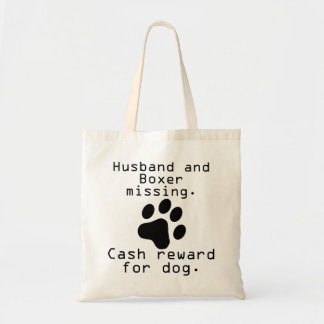 Husband And Boxer Missing Tote Bag