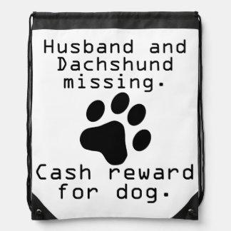 Husband And Dachshund Missing Drawstring Bag
