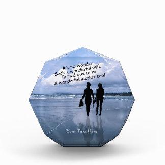 Husband and Wife Enjoy Beach Acrylic Octagon Award
