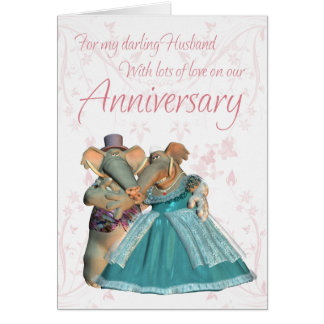 Husband Anniversary card with elephants