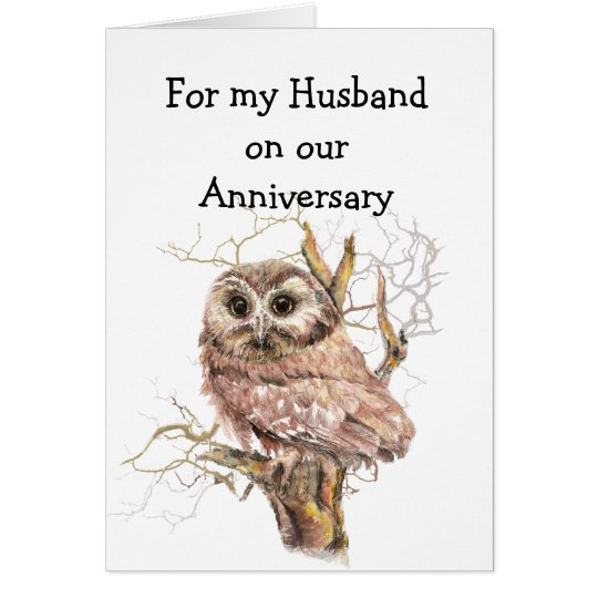 Husband Anniversary Owl always Love You Card