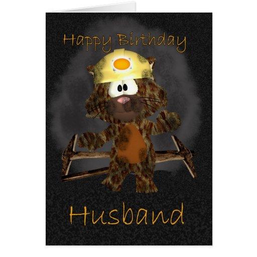 Husband Birthday Card - Coal Miner Cat