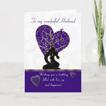 husband birthday card modern design, purple and wh card