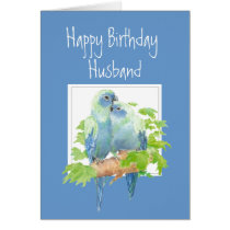 Husband Birthday, Cute Romantic Parrots, Birds Card