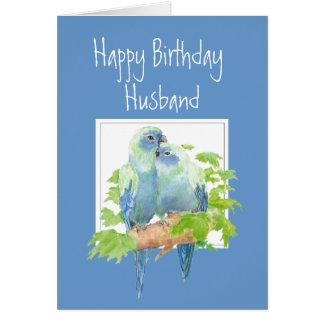 Husband Birthday, Cute Romantic Parrots, Birds Greeting Card