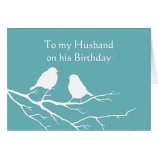 Husband Birthday Cute Sparrow Bird Couple in Blue Greeting Card