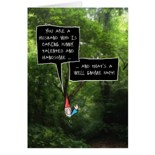 Husband Birthday, Humorous Gnome in Forest Card
