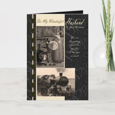 Husband, Birthday Husband steam train Greeting Cards by