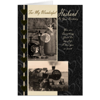 Husband, Birthday Husband steam train Greeting Cards