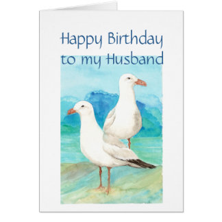 Husband Birthday, Romantic, Seagull Beach, Shore Greeting Card