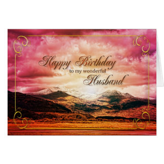 husband birthday, Sunset over the mountains Card
