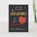 "Husband, Birthday With Gold Effect Card<br><div class=""desc"">A modern birthday card for your loved one,  with embossed effect text and hearts (digitally designed they are not really embossed just have that effect) Stylish romantic and modern but remaining perfect for Men with colors and sentiments.</div>"