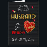 """Husband, Birthday With Gold Effect Card<br><div class=""""desc"""">A modern birthday card for your loved one,  with embossed effect text and hearts (digitally designed they are not really embossed just have that effect) Stylish romantic and modern but remaining perfect for Men with colors and sentiments.</div>"""