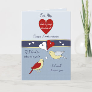 Wedding anniversary cards zazzle husband blue wedding anniversary card m4hsunfo