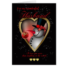 Husband Christmas Card - Snowman In Heart at Zazzle