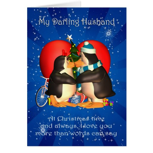 Husband Christmas Card With Kissing Penguins Heart