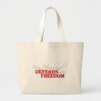 Husband Defends Freedom Large Tote Bag