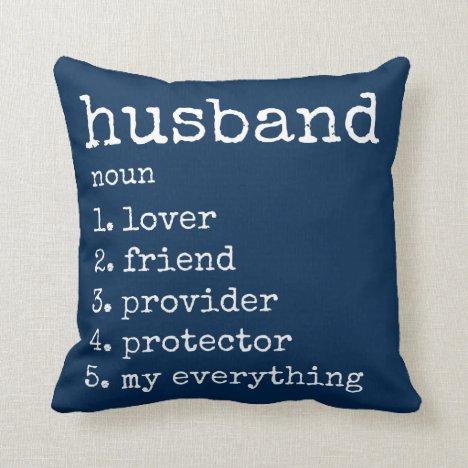 Husband Definition Anniversary Gift Pillow