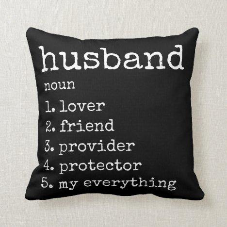 Husband Definition Anniversary Gift Pillow | Black