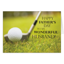 Husband Father's Day Golf Ball in Grass Card