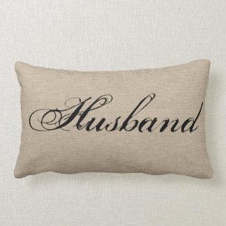 Husband faux linen burlap rustic chic jute wedding throw pillows
