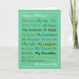 Husband Fiance Boyfriend Birthday Card Lover