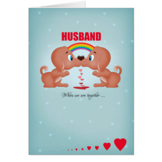 Husband Gay Male Valentine's Day Kissing Dogs And Card