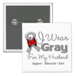 Husband - Gray Ribbon Awareness 2 Inch Square Button