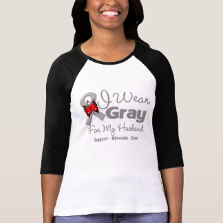 Husband - Gray Ribbon Awareness T Shirt