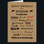 """Husband Happy Birthday Words of Praise Card<br><div class=""""desc"""">Wonderful husbands have many great qualities.</div>"""